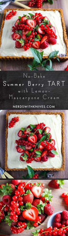 Summer Berry Tart with Lemon Mascarpone Cream – Nerds with Knives – Backrezepte – Desserts Delicious Desserts, Dessert Recipes, Yummy Food, Baking Desserts, Dessert Ideas, Cinnamon Desserts, Snacks Recipes, Healthy Desserts, Brunch Recipes