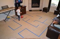 Make a maze using painter's tape! It will keep the kiddos active & entertained for hours. (via A Magical Childhood) gross motor Gross Motor Activities, Gross Motor Skills, Indoor Activities, Toddler Activities, Indoor Recess Games, Family Games Indoor, Toddler Games, Therapy Activities, Physical Activities