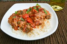 Chicken Cacciatore....... haven't tried this particular recipe but it sounds good.