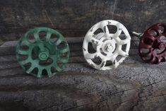 Vintage Water Faucet Knob ~ Rustic Cast Iron Distressed Green ~ Red ~ White ~ Drawer Pulls ~Shabby C Dresser Knobs And Pulls, Drawer Pulls, Cast Iron, It Cast, White Drawers, Water Faucet, Faucet Handles, Creamy White, Red And White