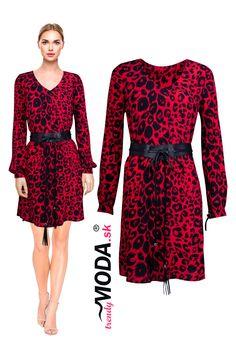 Úžasné trendy červeno-čierne dámske šaty s efektným leopardím vzorom a trendy opaskom. Trendy, Dresses With Sleeves, Long Sleeve, Fashion, Moda, Sleeve Dresses, Long Dress Patterns, Fashion Styles, Gowns With Sleeves