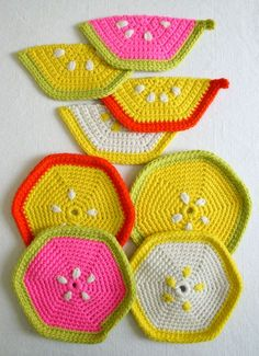 Super Soft Merino Fruity Trivets + PotHolders - Purl Soho - Knitting Crochet Sewing Embroidery Crafts Patterns and Ideas!