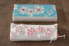 Hand carved rubber stamp #sakura #blossoms桜パターンの画像:ふわふわ堂