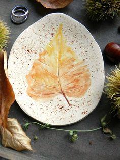 Fall Leaf Ceramic Dish Yellow Brown Organic Shape by Ceraminic