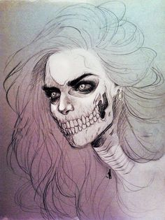Skeleton girl drawing with watercolour hair