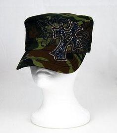 Cowgirl Bling Ranch, LLC - Fashion beaded cross cadet cap green camo, $24.99 (http://www.cowgirlblingranch.com/products/fashion-beaded-cross-cadet-cap-green-camo.html)