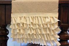 DIY::Drop cloth with linen ruffles as a runner. Adorable!