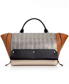 BCBGMAXAZRIA Handbag, Barlowe Satchel | Ivory Snake Combo