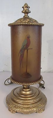 Antique-Obverse-Painted-Art-Deco-Parrot-on-Perch-Accent-Lamp