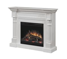 The Dimplex Winston White Electric Fireplace Mantel Package - offers patented flame technology, traditional design, and remote control. Electric Fireplace With Mantel, Dimplex Electric Fireplace, Farmhouse Fireplace Mantels, Log Burner Fireplace, Brick Fireplace Makeover, Fireplace Inserts, Fireplace Wall, Fireplace Furniture, White Fireplace