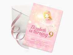 Fairy Birthday Invitation Pink and Gold by YourLittlePoster