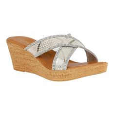 89c2a4336 Lotus Arika Silver Print Wedge Sandals