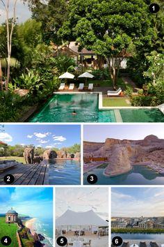 Water Side Vacation Destinations 1. Ubud, Bali 2. Phinda Homestead, South Africa 3. Amangiri Resort in Utah 4. Castlerock, Northern Ireland 5. Harbour Island, Bahamas 6. Mandarin Oriental Barcelona