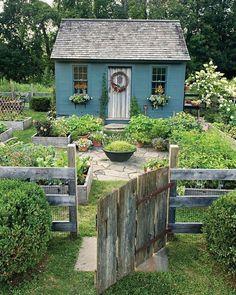 cottage garden decor Take Two Country Gardens Cottage Garden Design, Diy Garden, Dream Garden, Home And Garden, Garden Gate, Picket Fence Garden, Cottage Garden Sheds, Fenced Garden, Country Cottage Garden