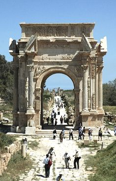 Arch of the Roman Emperor Septimius Severus, Archaeological Site of Leptis Magna, Libya, Africa Found on liv.ac.uk