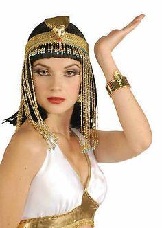 EGYPTIAN BEADED ASP HEADPIECE,COLLAR,CUFF,BELT CLEOPATRA ROMAN FANCY DRESS | eBay