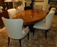 Delightful Henredon Furniture Barbara Barry Celestial Oval Dining Table Bowfront Chair  Set | EBay