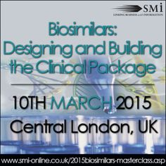Biosimilars: Designing and Building the Clinical Package, at Holiday Inn Bloomsbury, Coram Street, London, WC1N 1HT, United Kingdom, On Tuesday March 10, 2015 at 8:30 am to 4:40 pm, Inquiries: http://atnd.it/20080-1, The patent expiry of a number of biologics that have revolutionised medical practice is imminent. Numerous programs have been initiated to develop corresponding, Price: Masterclass: £599, Speakers: Uwe Gudat, Head of Safety Biosimilars, Merck Serono, Category: Conferences