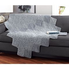 A warm throw with that funky mitered design. Shown in Grey Ragg and Medium Grey Starlette yarn or choose any 1 Ragg colour and any 1 Starlette colour yarn. Knitted Afghans, Knitted Blankets, Yarn Colors, Knitting Stitches, Ottoman, Mary, Furniture, Link, Design