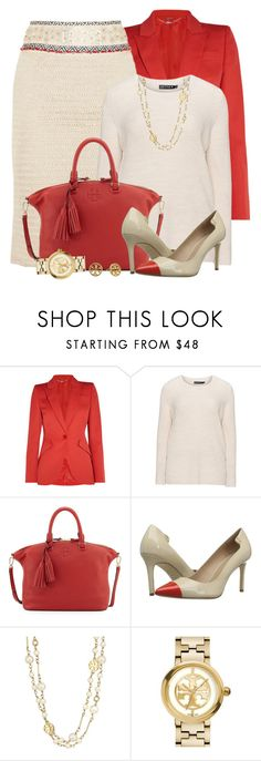 """""""Tory Burch Embellished Pencil Skirt"""" by brendariley-1 ❤ liked on Polyvore featuring Alexander McQueen, Tory Burch and Jette"""