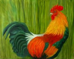 "Red Rooster, oil on canvas, 2015, 16"" x 20"", sold."