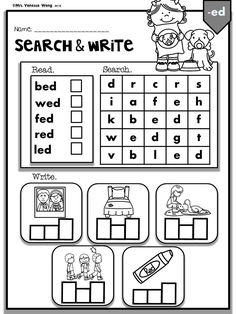 Teaching phonics with fun activities and worksheets. Great fluency, reading and spelling practice for kindergarten and first grade classroom. Perfect companion to literacy and phonics centers, homework, homeschool and morning work. Spelling Worksheets, Spelling Words, Cvc Words, Kindergarten Worksheets, Kindergarten Word Search, Rhyming Worksheet, Spelling Practice, Kindergarten Christmas, Kindergarten Learning