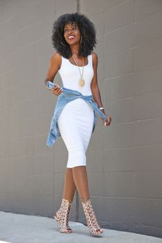 Tank Bodycon Dress Fitted Denim Shirt (Style Pantry) - Denim And White - Ideas of Denim And White - Tank Bodycon Dress Fitted Denim Shirt Fitted Denim Shirt, Denim Shirt Style, Denim Shirt Outfit Summer, Denim On Denim, Denim Shirt Dress, Fashion Mode, Look Fashion, Womens Fashion, Girl Fashion