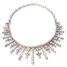 A diamond necklace/tiara combination,
