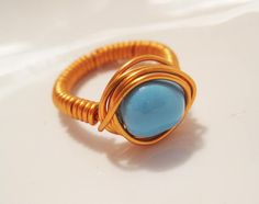 Copper Wire Wrapped Ring with Turquoise Baroque Swarovski Crystals sparklngcreations.etsy.com
