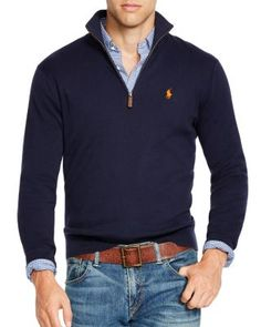 Polo Ralph Lauren Half-Zip Pima Sweater | Bloomingdale's in FAWN GREY HEATHER if navy is unavailable