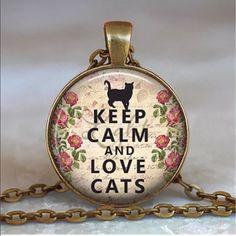 "Vintage Cat Cabochon Bronze Pendant Necklace New Vintage Cat Cabochon Bronze Pendant Necklace New~18""'with extender chain Cat Jewelry Necklaces"