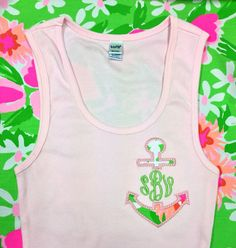 Tank with Anchor monogram using Lilly Pulitzer by ACuteLittleGift, $28.00