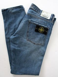 Stone Island Jeans  (RE-T, Stonewashed, Tapered, Men's Pre-owned Designer Denim Jean Pants)
