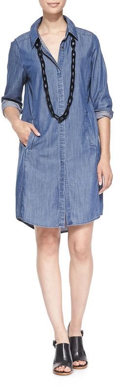 Plus Size Eileen Fisher Denim Long-Sleeve Dress with Pockets