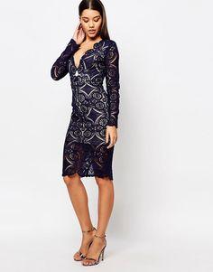 Image 4 ofLove Triangle V Neck Midi Dress In All Over Lace