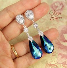 Wasima - Bermuda Blue Faceted Teardrop Crystal Earrings, Something blue, Peacock Wedding, Bridal Earrings, Bridesmaid Jewelry, Weddings