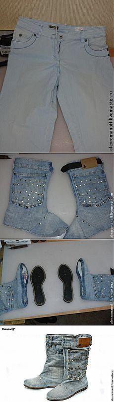 Как сделать обувь из джинсов - Ярмарка Мастеров - ручная работа, handmade