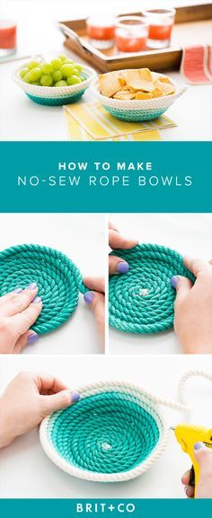 Learn how to make your own no-sew rope bowls with this tutorial.