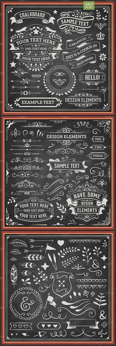 Ad. Chalkboard Design Elements by Swedish Points on @creativemarket