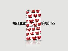 Heart Mustache Face Graphic Cell Phone Case (Red Heart Pattern Case for iPhone 6/iPhone 5/iPhone 5S/Samsung Galaxy) Hipster Case by raumshop on Etsy