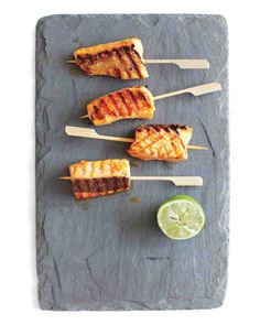 Skewered strips of salmon become a party-worthy version of fish sticks.