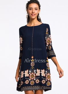Dress - $17.99 - Polyester Floral Half Sleeve Above Knee Dresses (1955209319)