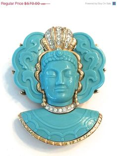 This piece would get so much attention!  Marcel Boucher Asian Princess Brooch by Vintageimagine on Etsy