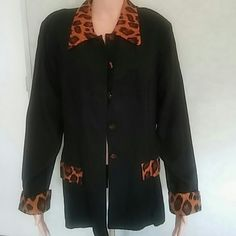 jacket Long sleeve jacket with animal print on collar,cuffs and top of the pockets WNY Jackets & Coats