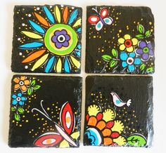 colorful spring and flower theme coasters in natural by Indybindi