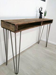 Upcycled Reclaimed Pallet Wood Sideboard/ Hallway Table KITS in Medium Oak Hallway Sideboard, Rustic Sideboard, Entryway Tables, Wood Pallets, Pallet Wood, Timber Table, Oak Stain, Reclaimed Timber, Hairpin Legs