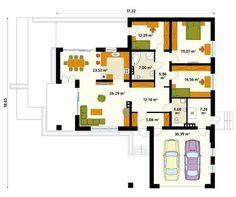 Projekt domu Aksamit 4 - rzut parteru Design Case, Planer, Ideas Para, My House, House Plans, Floor Plans, Construction, Villa, House Design