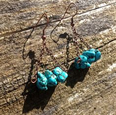 Natural Turquoise Howlite Copper Tribal by TheBlueYonderStudio, $19.00