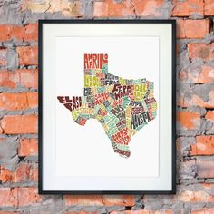 Texas Featuring Its Cities Towns In Hand Drawn Typography Signed Color Typography Map Art