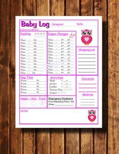 Baby Log Nanny Log Download Infant Record by WeddingsBabiesHome